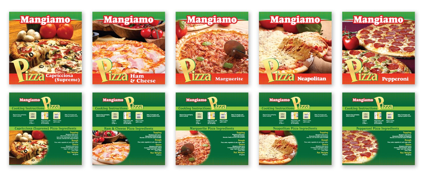 Mangiamo Frozen Pizza Packaging design by Adchix