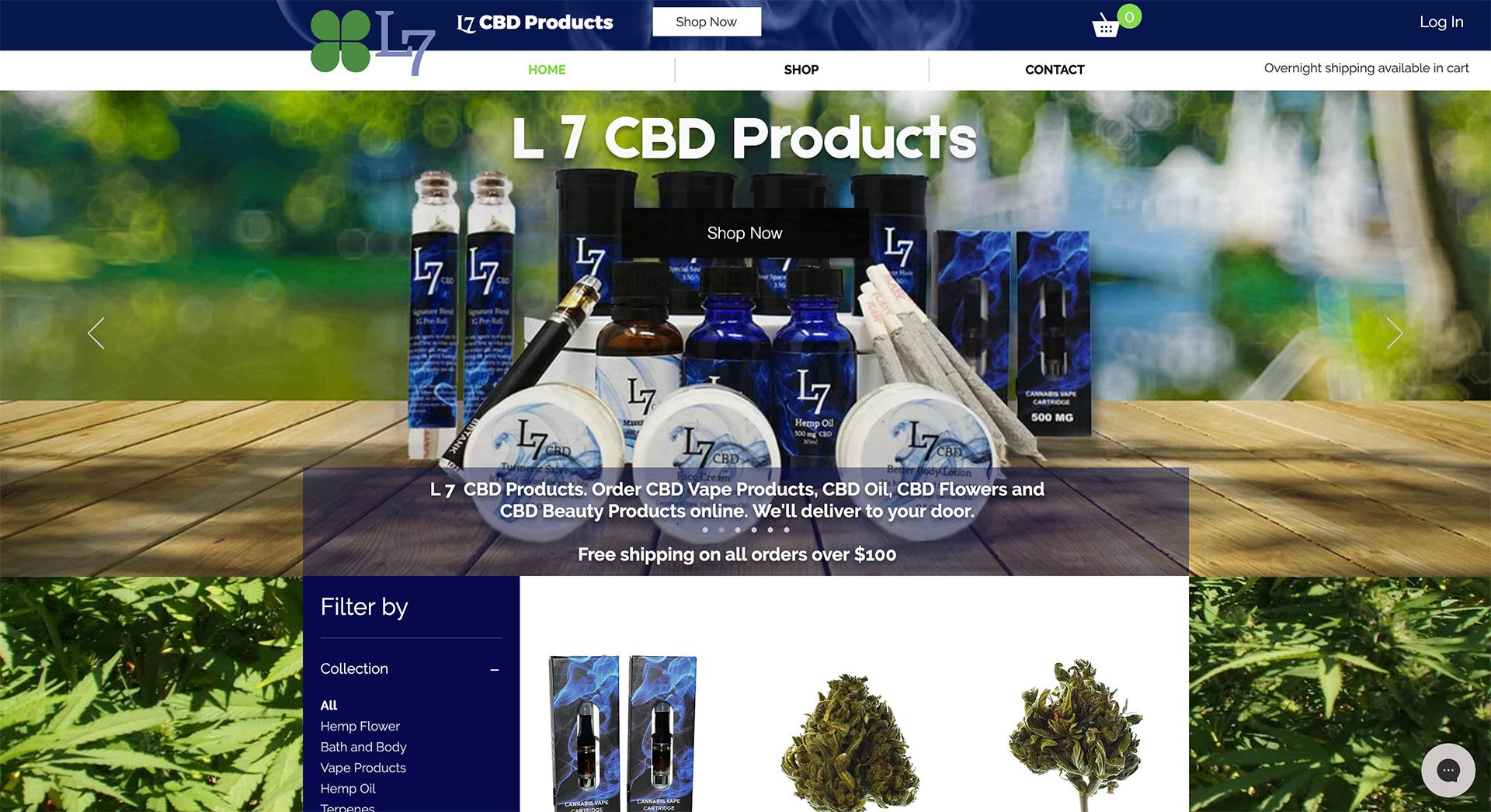 L7 CBD ecommerce website by Adchix
